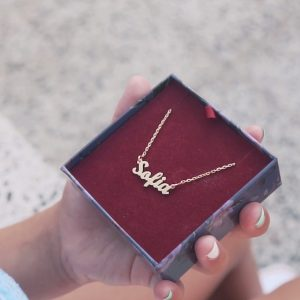 Children's Personalised Name Necklace in Gold boxed