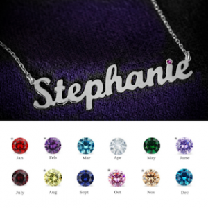 Personalised Necklace with Birthstone in Silver